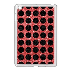 Circles1 Black Marble & Red Glitter Apple Ipad Mini Case (white) by trendistuff