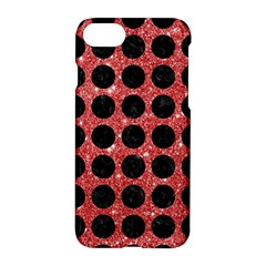 Circles1 Black Marble & Red Glitter Apple Iphone 7 Hardshell Case by trendistuff