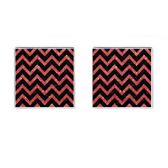 Chevron9 Black Marble & Red Glitter (r) Cufflinks (square) by trendistuff