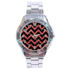 Chevron9 Black Marble & Red Glitter (r) Stainless Steel Analogue Watch by trendistuff