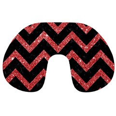 Chevron9 Black Marble & Red Glitter (r) Travel Neck Pillows by trendistuff