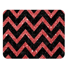 Chevron9 Black Marble & Red Glitter (r) Double Sided Flano Blanket (large)  by trendistuff