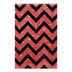 Chevron9 Black Marble & Red Glitter Shower Curtain 48  X 72  (small)  by trendistuff