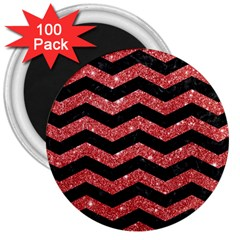 Chevron3 Black Marble & Red Glitter 3  Magnets (100 Pack) by trendistuff