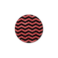 Chevron3 Black Marble & Red Glitter Golf Ball Marker (10 Pack) by trendistuff