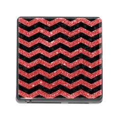 Chevron3 Black Marble & Red Glitter Memory Card Reader (square) by trendistuff