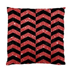 Chevron2 Black Marble & Red Glitter Standard Cushion Case (two Sides) by trendistuff