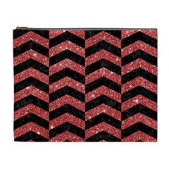 Chevron2 Black Marble & Red Glitter Cosmetic Bag (xl) by trendistuff