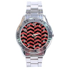 Chevron2 Black Marble & Red Glitter Stainless Steel Analogue Watch by trendistuff