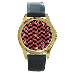 Chevron1 Black Marble & Red Glitter Round Gold Metal Watch by trendistuff