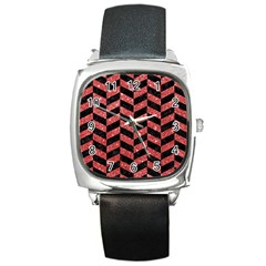 Chevron1 Black Marble & Red Glitter Square Metal Watch by trendistuff