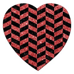 Chevron1 Black Marble & Red Glitter Jigsaw Puzzle (heart) by trendistuff