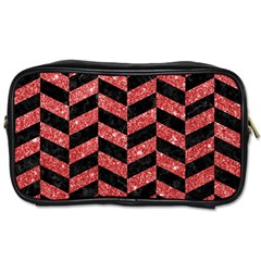 Chevron1 Black Marble & Red Glitter Toiletries Bags 2 Side by trendistuff