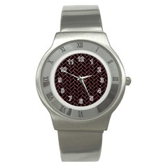 Brick2 Black Marble & Red Glitter (r) Stainless Steel Watch by trendistuff