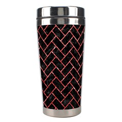 Brick2 Black Marble & Red Glitter (r) Stainless Steel Travel Tumblers by trendistuff