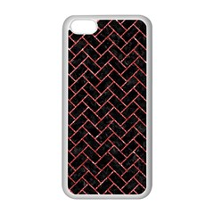 Brick2 Black Marble & Red Glitter (r) Apple Iphone 5c Seamless Case (white) by trendistuff