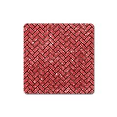 Brick2 Black Marble & Red Glitter Square Magnet by trendistuff