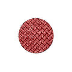 Brick2 Black Marble & Red Glitter Golf Ball Marker by trendistuff