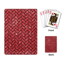 Brick2 Black Marble & Red Glitter Playing Card by trendistuff