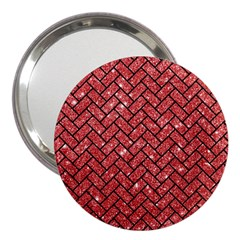 Brick2 Black Marble & Red Glitter 3  Handbag Mirrors by trendistuff