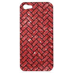 Brick2 Black Marble & Red Glitter Apple Iphone 5 Hardshell Case by trendistuff