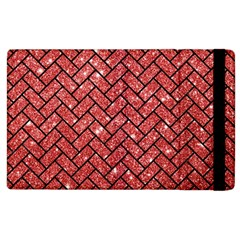 Brick2 Black Marble & Red Glitter Apple Ipad 2 Flip Case by trendistuff