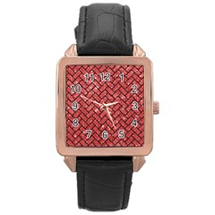 Brick2 Black Marble & Red Glitter Rose Gold Leather Watch  by trendistuff