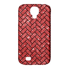 Brick2 Black Marble & Red Glitter Samsung Galaxy S4 Classic Hardshell Case (pc+silicone) by trendistuff