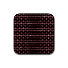 Brick1 Black Marble & Red Glitter (r) Rubber Square Coaster (4 Pack)  by trendistuff