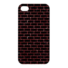 Brick1 Black Marble & Red Glitter (r) Apple Iphone 4/4s Hardshell Case by trendistuff