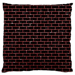 Brick1 Black Marble & Red Glitter (r) Large Flano Cushion Case (one Side) by trendistuff