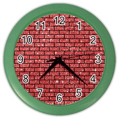Brick1 Black Marble & Red Glitter Color Wall Clocks by trendistuff