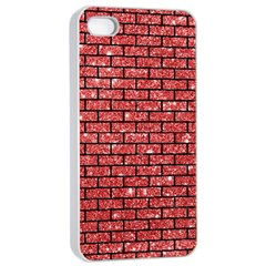 Brick1 Black Marble & Red Glitter Apple Iphone 4/4s Seamless Case (white) by trendistuff