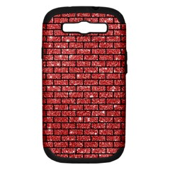 Brick1 Black Marble & Red Glitter Samsung Galaxy S Iii Hardshell Case (pc+silicone) by trendistuff