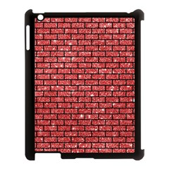 Brick1 Black Marble & Red Glitter Apple Ipad 3/4 Case (black) by trendistuff