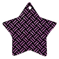 Woven2 Black Marble & Purple Glitter (r) Ornament (star) by trendistuff