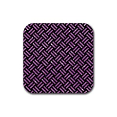 Woven2 Black Marble & Purple Glitter (r) Rubber Square Coaster (4 Pack)  by trendistuff