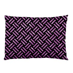 Woven2 Black Marble & Purple Glitter (r) Pillow Case