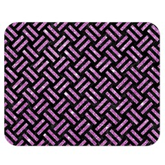 Woven2 Black Marble & Purple Glitter (r) Double Sided Flano Blanket (medium)  by trendistuff