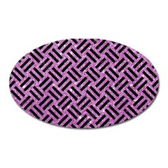 Woven2 Black Marble & Purple Glitter Oval Magnet by trendistuff