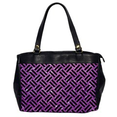 Woven2 Black Marble & Purple Glitter Office Handbags by trendistuff