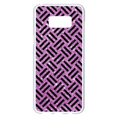 Woven2 Black Marble & Purple Glitter Samsung Galaxy S8 Plus White Seamless Case