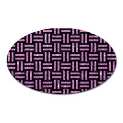 Woven1 Black Marble & Purple Glitter (r) Oval Magnet by trendistuff