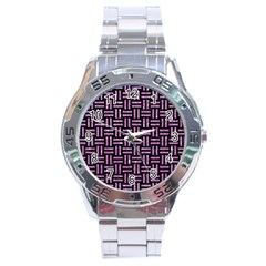 Woven1 Black Marble & Purple Glitter (r) Stainless Steel Analogue Watch by trendistuff