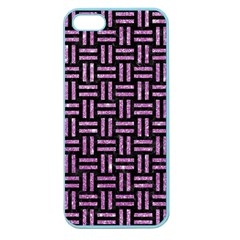 Woven1 Black Marble & Purple Glitter (r) Apple Seamless Iphone 5 Case (color) by trendistuff