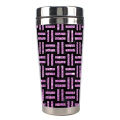 Woven1 Black Marble & Purple Glitter (r) Stainless Steel Travel Tumblers by trendistuff