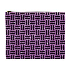 Woven1 Black Marble & Purple Glitter Cosmetic Bag (xl) by trendistuff