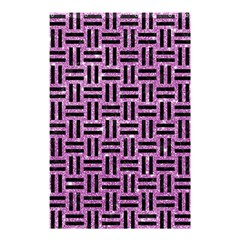Woven1 Black Marble & Purple Glitter Shower Curtain 48  X 72  (small)  by trendistuff