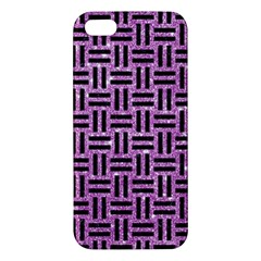 Woven1 Black Marble & Purple Glitter Apple Iphone 5 Premium Hardshell Case by trendistuff
