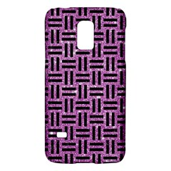 Woven1 Black Marble & Purple Glitter Galaxy S5 Mini by trendistuff